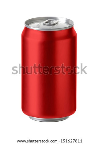 Red aluminum cans with blank copy space, ideal for beer, lager, alcohol, soft drink, soda, lemonade, cola, energy drink, juice, water etc.,  Realistic photo image,  #151627811