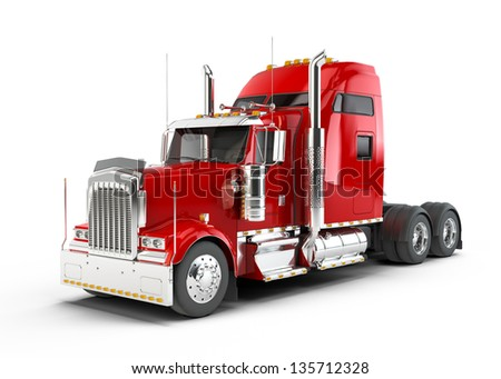 Red american truck isolated on white background
