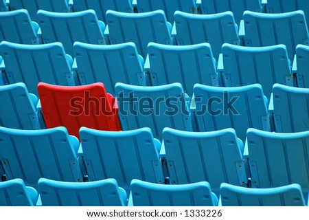 Red among blue seats