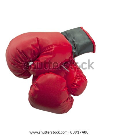 Red and black boxe gloves isolated over white background