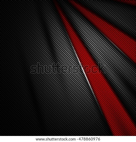red and black carbon fiber background. 3d illustration material design. racing style.
