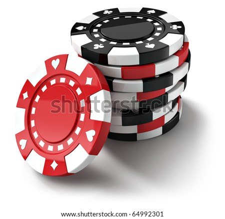 Red and black casino tokens, isolated on white background (3d render)