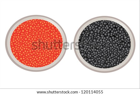 red and black caviar in bowl