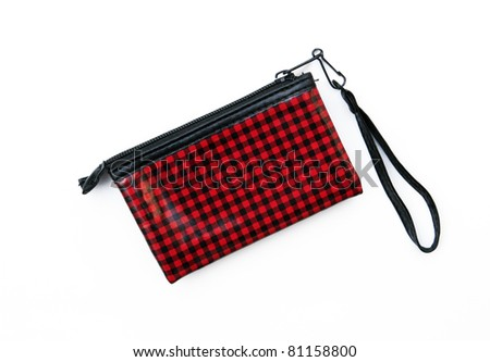 Red and Black checkered wallet purse isolated on white background