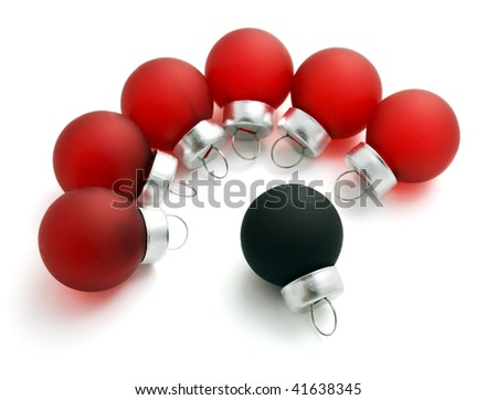 red and black Christmas balls on white background