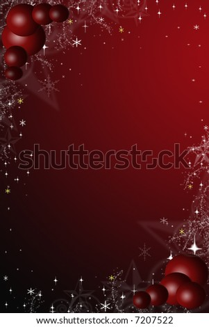 Red and black Christmas illustrations of stars and red baubles #7207522
