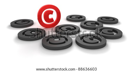 Red and black copyright signs isolated on the white background