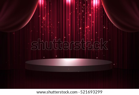 Red and black curtain and round stage in the dark with spotlight, glittering and sparkling stars