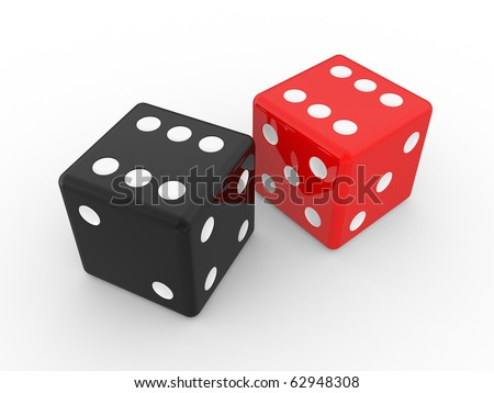 red and black dices, isolated objects on a white background