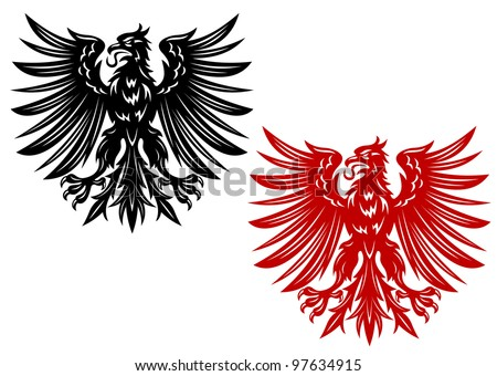 Red and black eagles for heraldry or tattoo design, such  a logo. Vector version also available in gallery