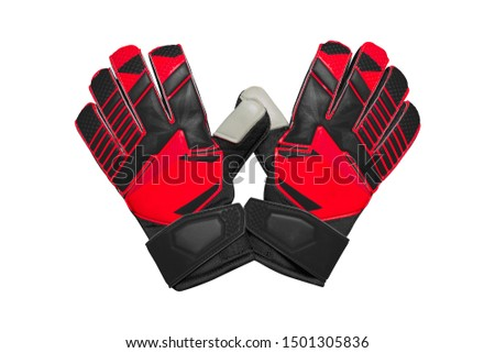 Red and black goalkeeper glove isolated on white. Stock photo ©
