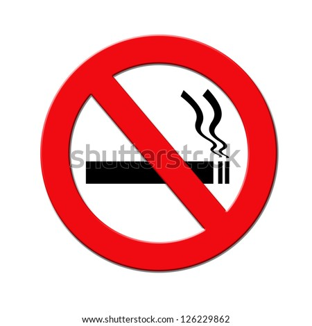 Red and black no smoking sign on white background