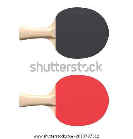 Red and black rackets for table tennis isolated on white background. Ping pong sports equipment. Minimal creative concept. 3d rendering illustration Foto stock ©