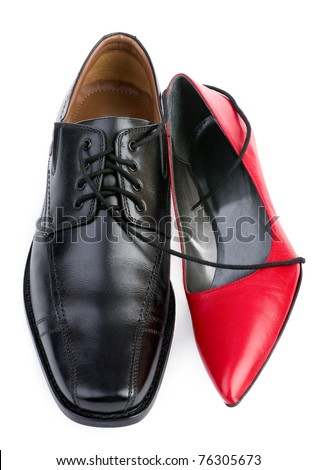 Red and black shoes isolated on white