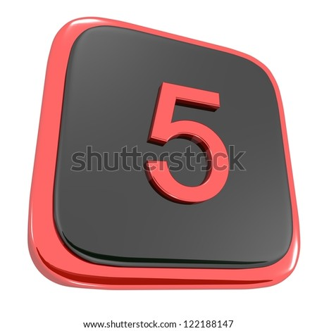 Red and black smooth icon with the number five