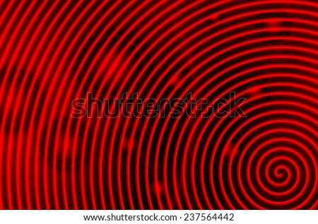 Red and black swirl with red circles
