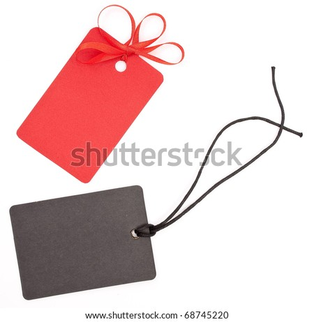 Red and black tags