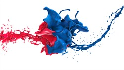 Red and blue abstract liquid face in splash isolated on white background.