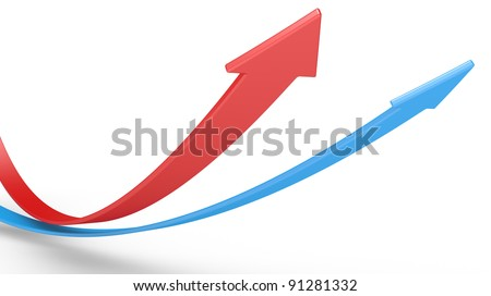 red and blue arrows. 3d illustration  on a white background