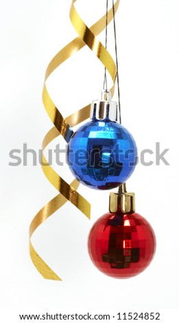 Red and blue balls isolated on the white