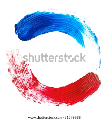 red and blue brush strokes on a white background