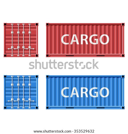 Red and blue cargo container. Stock image.