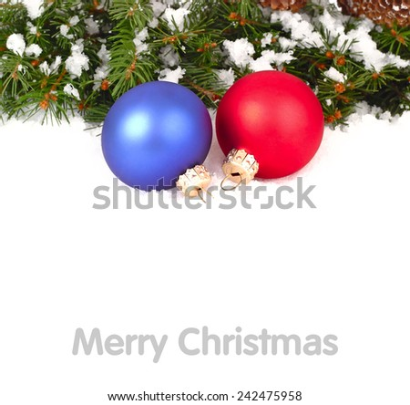 Red and blue Christmas balls on a white background. Christmas background.