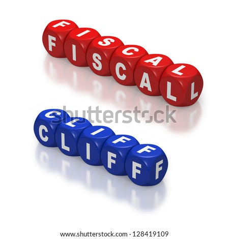 Red and blue dice or cubes with text of Fiscal Cliff on white background