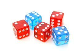red and blue dices over a white background