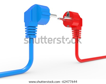 red and blue electric plug isolated on white background - stock photo
