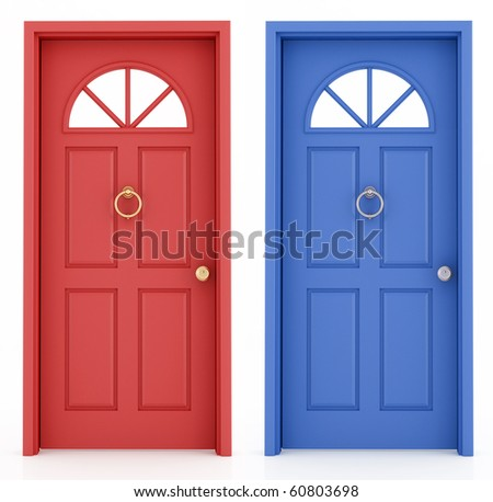 red and blue elegant  entrance door isolated on white  - rendering