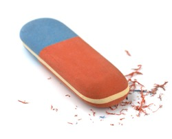 Red and blue eraser isolated on white