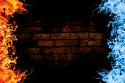 Red and blue fire frames on brick background.
