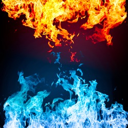 Red and blue fire on black background