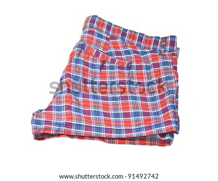 red and blue  ladies shorts