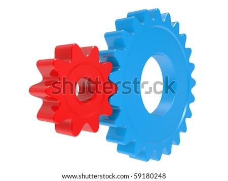 red and blue large industrial gears on a white