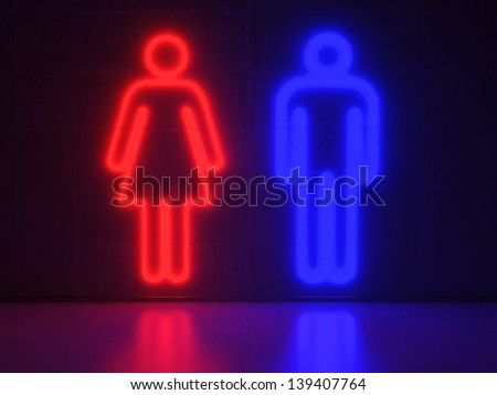 Red and blue Neon Signs in Form of a Man and a Woman on a Wall of Concrete