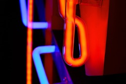Red and blue neon tubes with gas