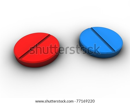 red and blue pills tablets