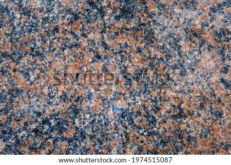 Red and blue polished granite wall background. Honed granite slab texture. Abstract stone backdrop with copy space. Stockfoto ©
