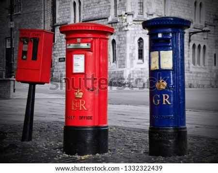 Red and blue post boxes, Windsor, UK #1332322439