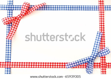 red and blue ribbon bow frame on white background