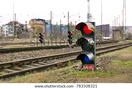 Red and Blue Signaling Train Traffic Lights #783508321