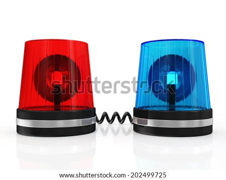 Red and Blue Siren System isolated on white background