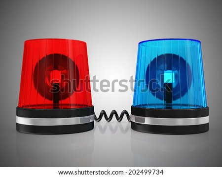 Red and Blue Siren System on black gradient background