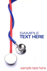 red and blue stethoscopes isolated in white background