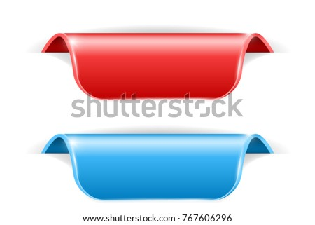 Red and blue sticker labels with transparent shadow. 3d illustration isolated on white background