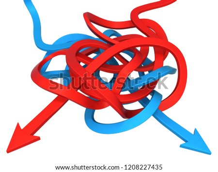 Red and blue symbolic arrows tangled, 3d illustration, horizontal, over white, isolated