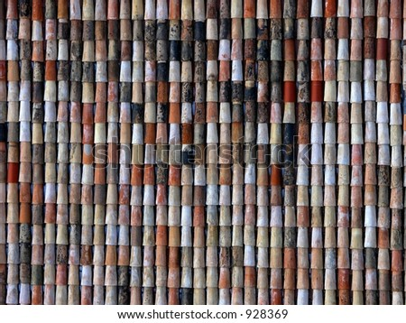 Red and brown Shingles on homes and buildings in Europe 1