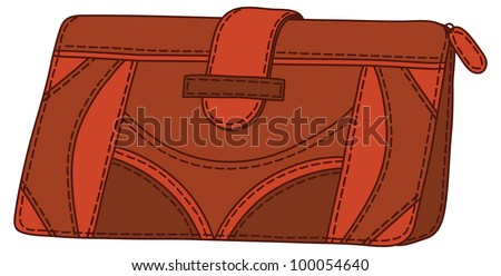 Red and brown stylish leather wallet for money